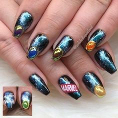 Avengers Nail Design- Holographic galaxy