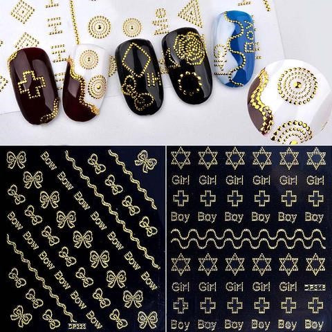 3D Gold Metal Butterfly Geometry Shape Nail Art Stickers