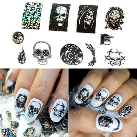 Halloween skull 3D nail polish stickers