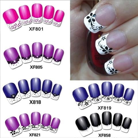 3D Flower France Nail Art Stickers Tips For Manicure