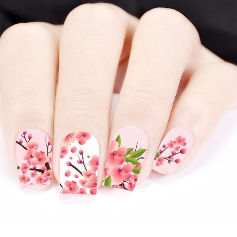 Cherry Blossom Theme Water Decals Transfer Nail Art Stickers
