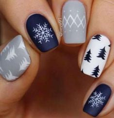 Matte blue grey snowflake with tree winter nail design