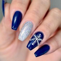 Mirror Chrome Blue Snowflake winter nail design