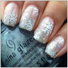 Glitter transparent snowflake winter nail design