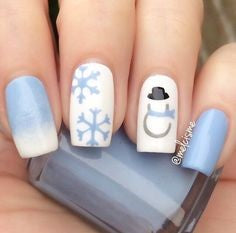 Snowflake and snowman winter nail design