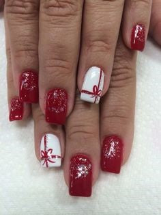 Christmas Present Nail Art Design