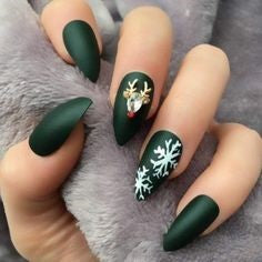 Matte Christmas Elk and Snowflakes Nail Art Design