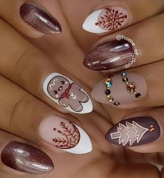 Holographic Christmas Tree Nail Art Design