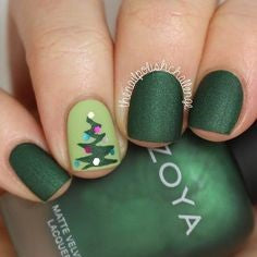 Matte Green Christmas Tree Nail Art Design