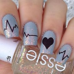 Heart Beat Valentine's Nail Art Idea