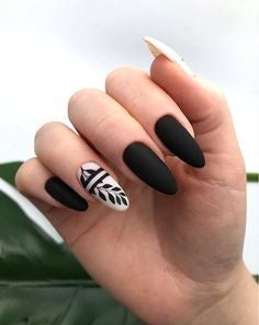 Matte Black Branches nail design