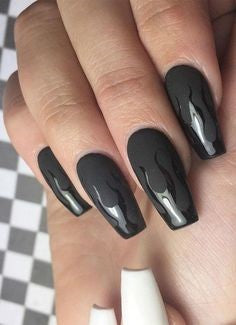 Black flame nail design