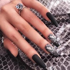 Black matte long nail design