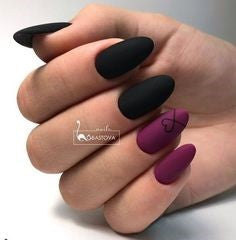Matte Black & Purple Heart Nail Design