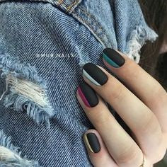 Matte black with a few other color nail designs