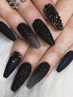 All Black Stiletto Nails With Studs