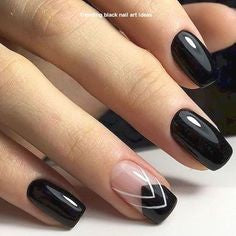 Black short nail design
