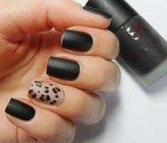 Black & Leopard Short Nail Design