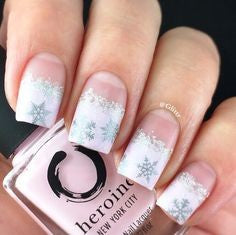 Winter snowflakes nail designs for older ladies