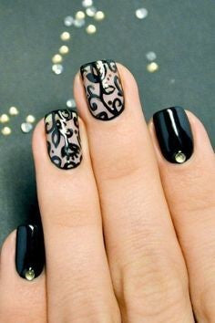 Black Rose nail designs for older ladies