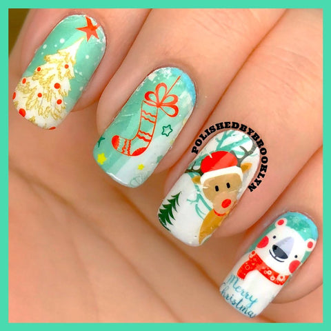 Cute Christmas Water Sticker Nail Design