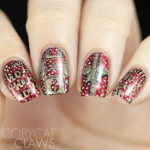 Red spotted Christmas nail stamping design