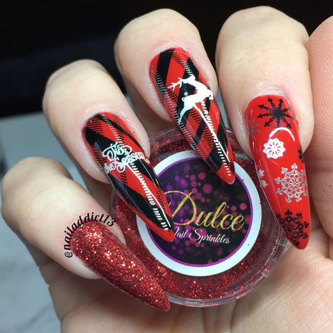 Red Black Christmas Long Nail Stamping Design
