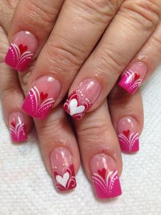 Pink Love Valentine's Nail Art Idea