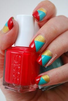 Tri-color Nail Art Design-3