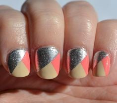Tri-color Nail Art Design-4