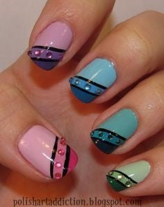 Tri-color Nail Art Design-8