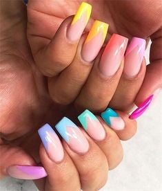 French Rainbow Long Nail Design