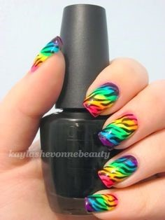 Rainbow Flame nail design