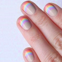 Simple Rainbow Nail Design