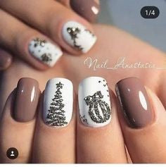 Christmas tree and bell nail design