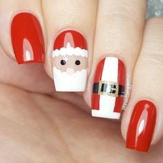 Q version of Santa nail design