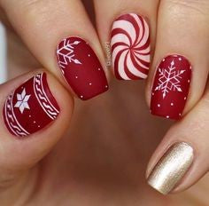 Matte Festive Red Christmas Nail Design