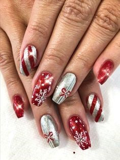 Shiny Christmas Gift Nail Design