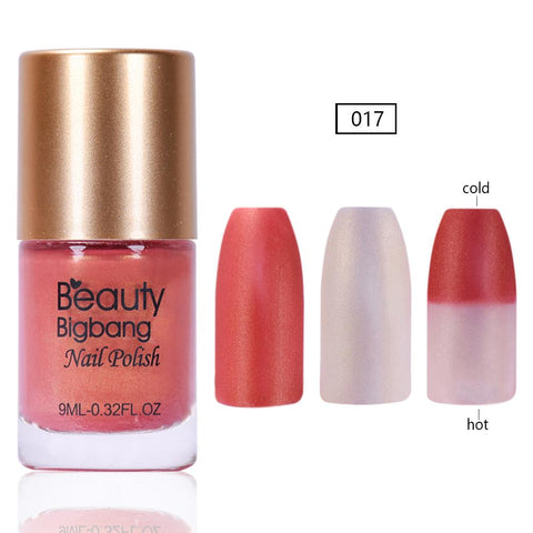 9ML Orange Glitter Temperature Color Changing Thermal Nail Polish For Manicure