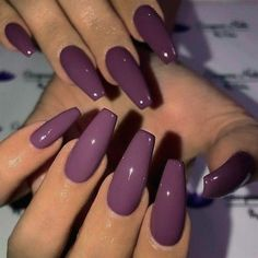Gel Purple Coffin Nail Design