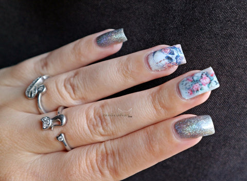 Skull Nail Water Decals Floral Nail Stickers - BeautyBigBang.com Review