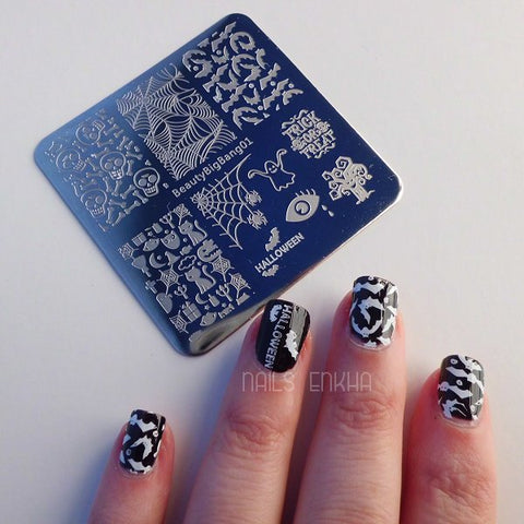 Halloween Ghost Nail Art Stamping Plate Skull Cat Pumpkin Pattern