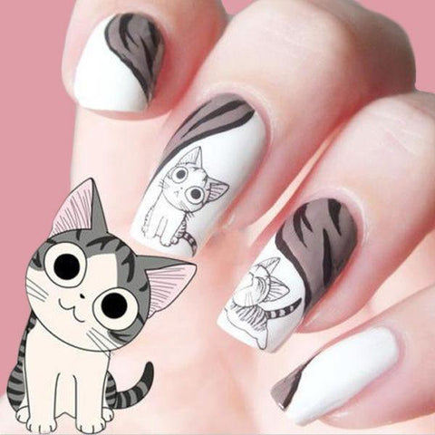 Grey Cute Cat Nail Water Decals Nail Art Stickers