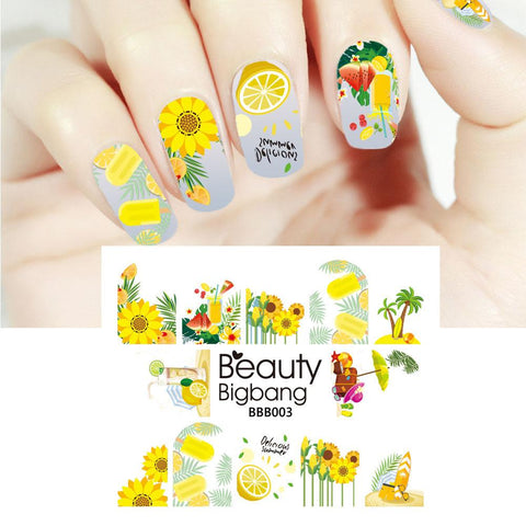 Sunflower Lemon Series Water Decals Transfer Nail Art Stickers