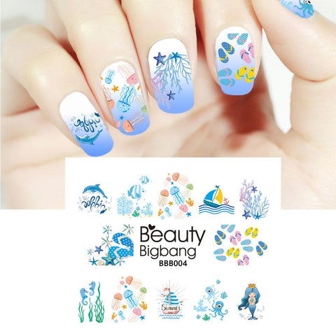 Summer Series Ocean Mermaid Water Decals Transfer Nail Art Stickers