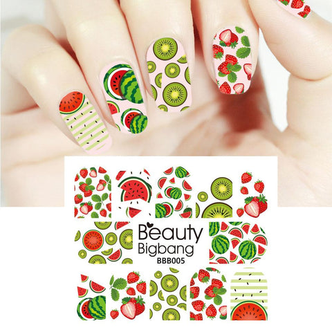 Fruit Series Water Decals Transfer Nail Art Stickers Decoration