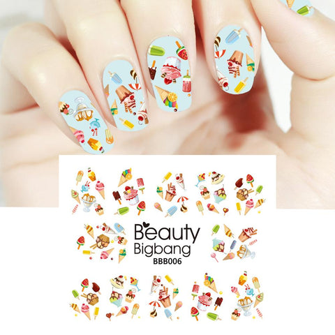 Ice Cream Cake Patterns Water Decals Transfer Nail Art Stickers