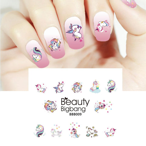 Unicorn Series Water Decals Transfer Nail Art Stickers For Manicure