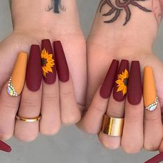 Flower Coffin Autumn Nail Design