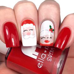 Santa Claus Glitter Winter Nail Design